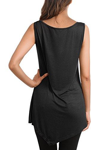 DJT Femme T-shirt Sans Manches Trop Elastique Longue Tops Noir