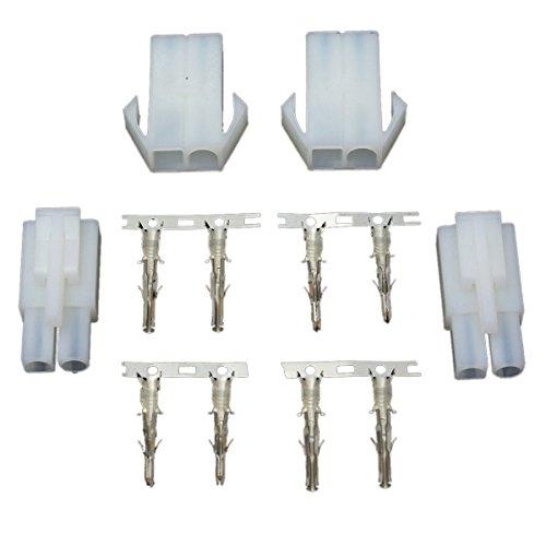 Stecker Buchse - SODIAL (R) Stecker Adapter Stecker Buchse 2 maennlich 2 weiblich Ladegeraet Weiss