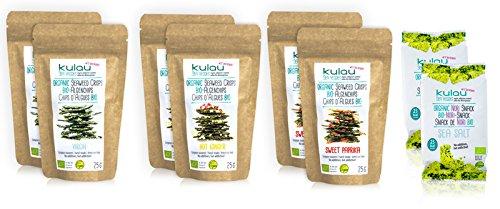 KULAU Bio-Algenchips Probierpaket 6 x 25 g + 2x Bio-Nori-Snack 4 g