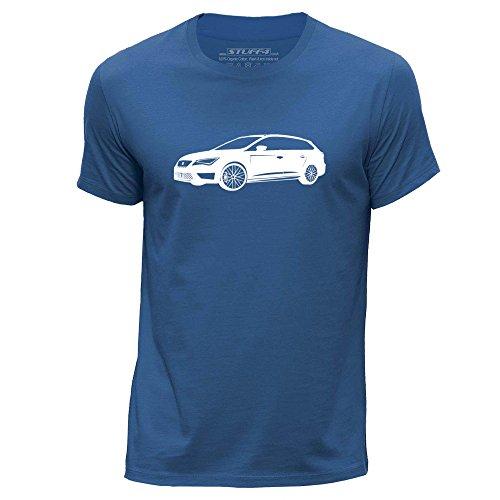 stuff4-hombres-xx-grande-xxl-azul-real-cuello-redondo-de-la-camiseta-plantilla-coche-arte-leon-cupra