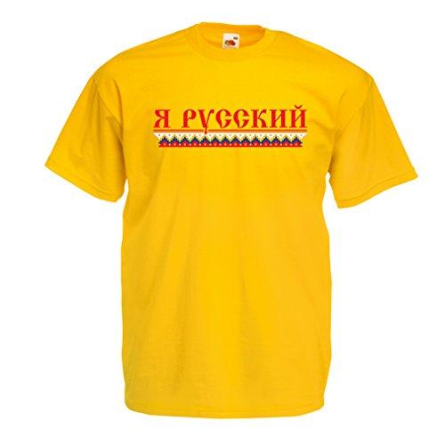 Männer T-Shirt Ich bin Russisch, ich liebe Russland Gelb Mehrfarben