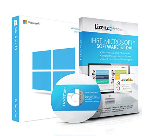 Original Microsoft® Windows 10 Enterprise Lizenzschlüssel + Lizenza ISO CD / DVD für 32 und 64 bit Deutsch inklusive Workstation 2016 für Office