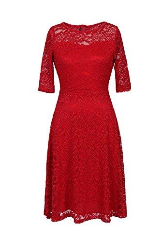 Élégante dentelle Half Sleeve de la femme Swing Party Dress red