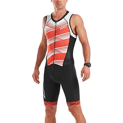 2XU Mens Compression Full Zip Trisuit ohne Ärmel Schwarz Weiß Flame - Easy Stretch Leichter UV-Sonnenschutz und Lichtschutzfaktor