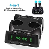 EEEKit 4 in 1 Caricatore per Controller PS4, Caricatore quadruplo per PS4 Move Controller e VR, Base per Ricarica Dock Station per Accessori per Playstation 4