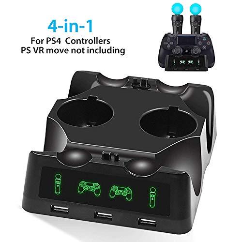 EEEKit 4 en 1 PS4 Controller Charger, Quad Charger para PS4 Move Controller y VR, Soporte de estación de Carga para Playstation 4
