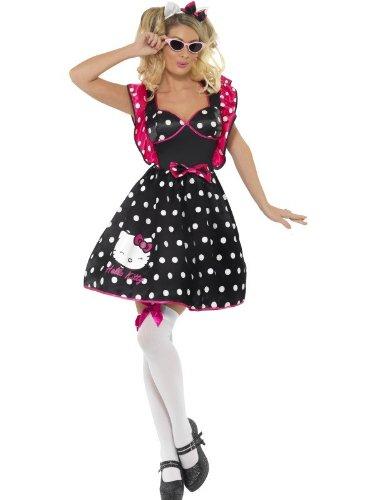Original Lizenz Hello Kitty Kostüm Kittykostüm 80er Jahre Katze Kätzchenkostüm Katzenkostüm Kleid Polka Gr. 34 (XS), 36/38 (S), 40/42 (M), (Kitty Kostüme Hello)