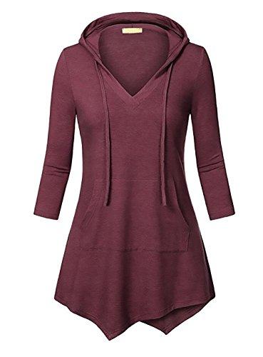 Lannister Fashion Donna Top Con Cappuccio Primavera Autunno Manica 3/4 V Scollo Magliette E Tasche Elegante Casual Ragazza Bluse Di Colore Solido Irregolare Rossi