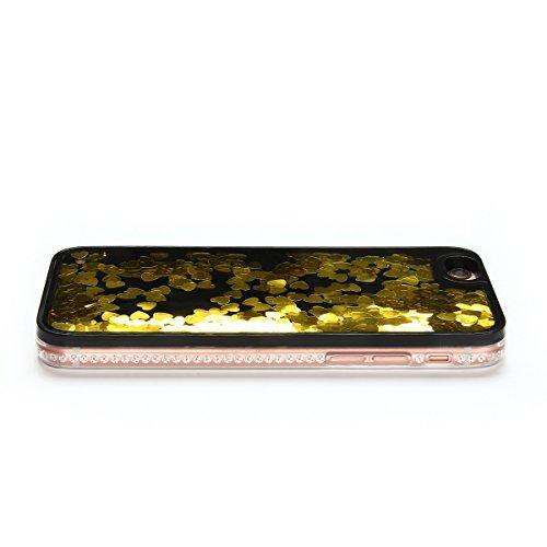 iPhone 6 / 6S Plus Hülle [5.5 Zoll] , Hart PC Hardcase Tasche Liquid Schutzhülle Treibsand Etui Anti-stoß Telefon-Kasten Glitzer Schutz Glitter Schale Anfire Case Für Apple iPhone 6 Plus Cover - Rosa  Gloden Herz Symbol