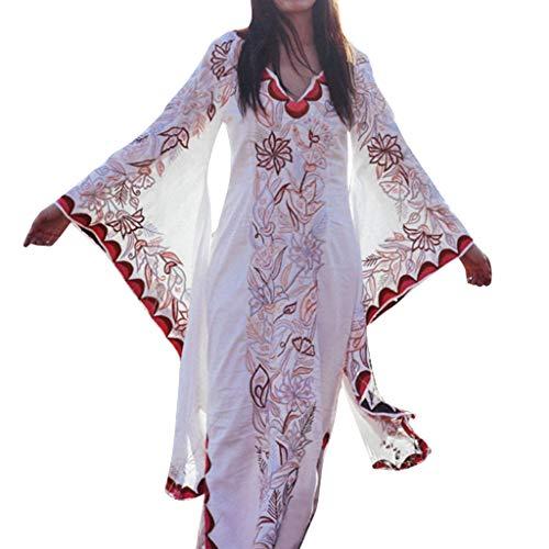 Sannysis Damen Maxikleider Lange Strandkleid Trompetenärmel Abendkleid Vintage Kostüm Elegant Tunika Hippie Kleid Gestickt Blumen Kleider (Weiß,XXL) -