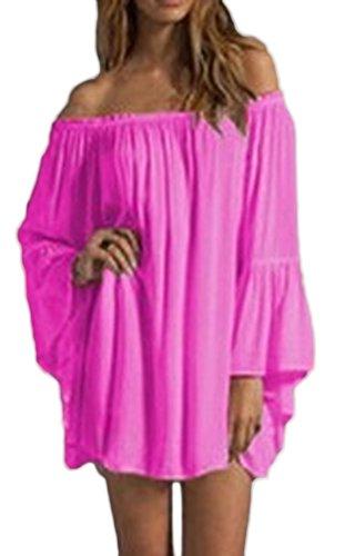 Donna Vestito Camicia Corta Estivi Eleganti Chiffon Vestiti Taglie Forti Manica Lunga Spalla Di Parola Sciolto Spiaggia A Pieghe Vestito Puro Colore Partito Senza Schienale Abito Vestitini Rosa