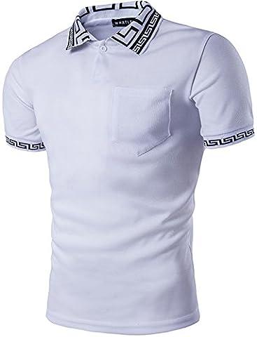 Pizoff Herren urban Basic schmale Passform Polohemd mit Kontrast Greca Key kragen Einsatz in Versch Farben (Greco Denim)