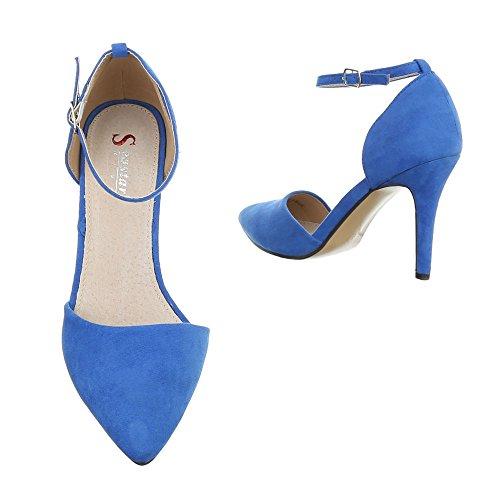 High Heel Damenschuhe Plateau Pfennig-/Stilettoabsatz High Heels Schnalle Ital-Design Pumps Blau SY02P-4