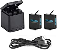 TELESIN 2 Pack Battery + 3 Slots Battery Charging Box for GoPro Hero 5 Hero 6 7 Charger Battery Accessories + USB Charging C