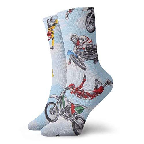 wonzhrui Socks Breathable Blue Motorbike Motocross Sports Crew Sock Exotic Modern Women & Men Printed Sport Athletic Socks 11.8