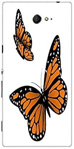 Snoogg Monarch Butterfly Designer Protective Back Case Cover For Sony Xperia M2