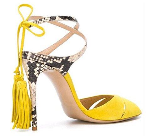 Peep Toe Pump Women Sandals Chaussures d'été Chaussures élégantes à talons hauts Sandales à bonnet à poils Yellow