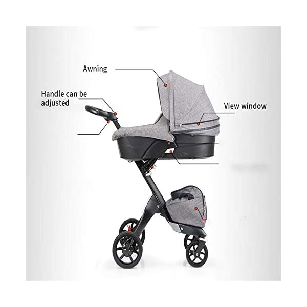 BABIFIS Baby Stroller High Landscape Can Sit Reclining Foldable Reversible Baby Four-wheeler Stroller E BABIFIS 75CM high landscape, two-way adjustment, SUV-level suspension, multi-turn adjustment, away from the car exhaust, breathing fresh air Height-adjustable, no need to change chairs, and easy to eat in parallel with most dining tables As a two-way adjustment, two orientations towards three seats, two-way implementation,Sleeping basket can be carried independently, 0-6 months baby's comfortable cot 8