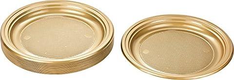 Kigima Assiettes jetables en plastique or, 30 pièces, diamètre 22cm