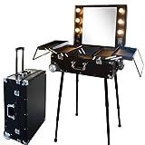 Valise studio make up trolley, Table de maquillage Ampoules, Noire et Aluminium