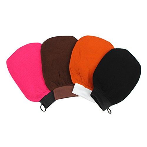 ULTNICE Gant Exfoliant Gommage Lavage Gants de Lavande Rayonne Mitt Aucune Irritation Mention aleatoire existe en Noir/Orange/Café/Rose Rouge) 4pcs meme coloris