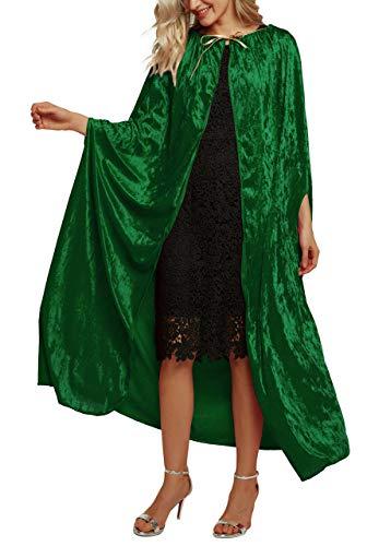 Urban CoCo Damen Kostüm Ganzkörper Crushed Velvet Kapuze Cape Länge 33inch 48.8inch-49.2inch cap Series 2-grün (Mystische Kostüm Cape)