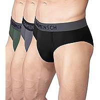DAMENSCH Men's 3X Softer Micromodal Air Briefs - Pack of 3 (100% Guarantee if NOT satisfied) Colors - Klintt Black, Wilsen Grey, Jorden Green