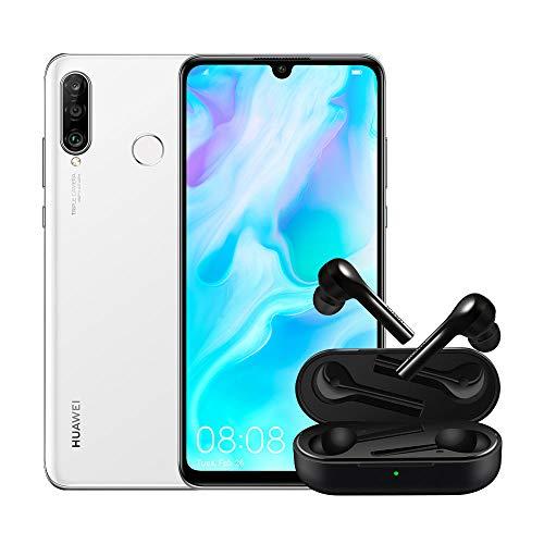 """Huawei P30 Lite (White) Smartphone + cover trasparente, 4GB RAM, memoria 128 GB, Display 6.15"""" FHD+, Tripla fotocamera posteriore da 48+8+2 MP, fotocamera anteriore 24 MP [Versione Italiana]"""