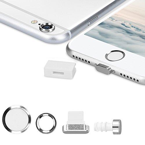 kwmobile 4in1 Set: Smartphone Kameraschutz & Staubschutz Set - Schutz Stöpsel für Apple iPhone 6/6S - in Silber