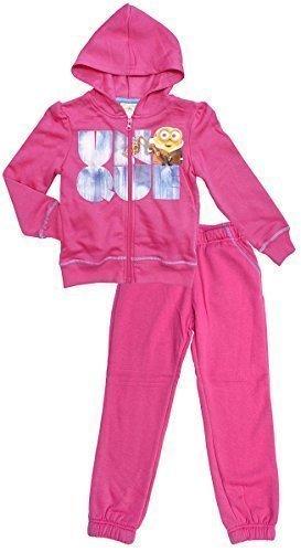 Mädchen Despicable Me Föhlich Minions Reißverschluss Kapuzenpulli Trainingsanzug Joggen Anzug Set Größen von 3 to 8 Years - Rosa, (Anzug Minion)
