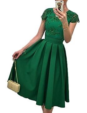 Vestido de Encaje Fiesta Bodas Cóctel Slim Falda Para Fiesta Midi Dress Mujeres Vestidos de Encaje Floral Elegante...