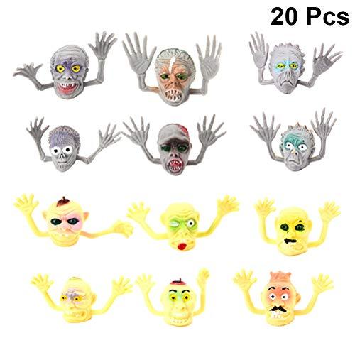 BESTOYARD 20 stücke Ghost Fingerpuppe Spielzeug Halloween Monster Puppet Spielen für Halloween Fingerpuppen Spielzeug Party Supplies (Gelb und Grau)