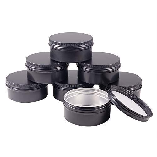 BENECREAT 10 Pack 150ml Lata de Aluminio Redondo Contenedor de Cosmético con Tapa de Rosca - Ideal para Almacenar Pequeñas Cosas(Negro)