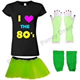 Blue Planet Fancy Dress ® Neon I Love the 80s T Shirt, Fishnet Gloves, Legwarmers & Tutu (X Large UK 14-16, Neon Green)