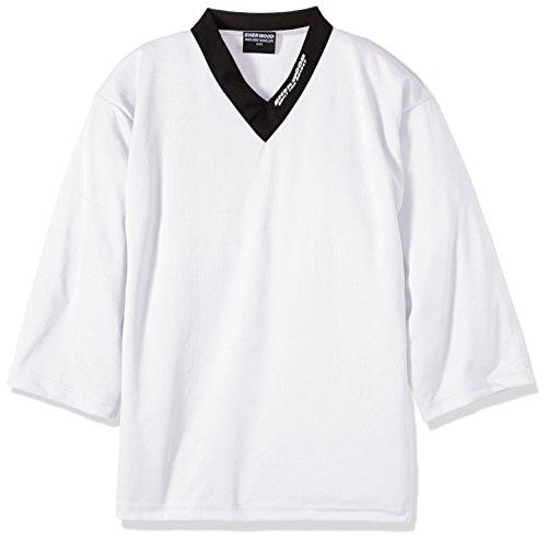 SHER-WOOD - Eishockey Trainingstrikot Junior für Kinder I stilvolles Practice Jersey aus gelochtem Mesh-Stoff I V-Neck Jersey zum Trainieren I tolle Passform I wird über den Brustpanzer gezogen, Weiß, Gr. XS