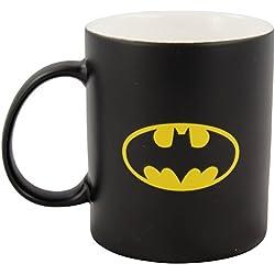 """'Batman 0122050Taza """"Bat Símbolo, porcelana, Negro Mate, aprox. 300ml, 12x 7,5x 9,30cm"""