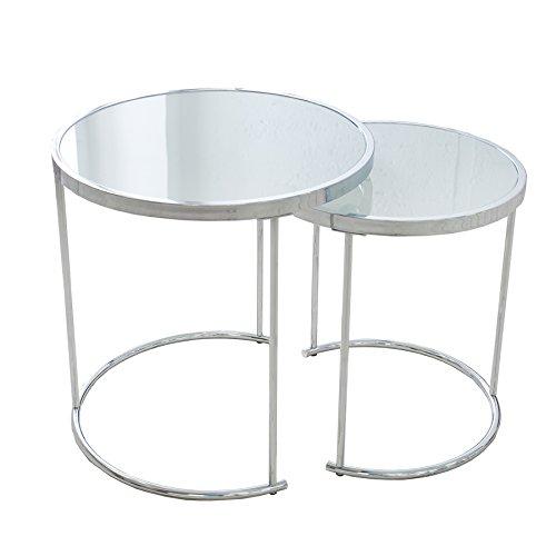 2er Set Design Couchtisch ART DECO - Chrom / Glas opaque weiß - Beistelltisch