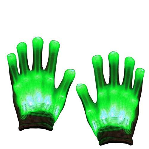 Aoweika LED Handschuhe Bunte Licht Handschuhe Leuchtende Handschuhe Halloween Weihnacht Handschuhe Beleuchtung Handschuhe für Kinder(8-12+Yrs) -