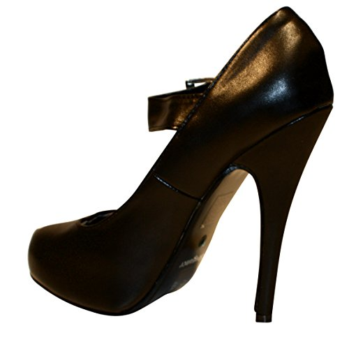 Erogance  Kunstleder Plateau High Heels, chaussures compensées femme Noir - Noir