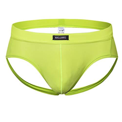 Skxinn Herren Slips Kurze Briefs Atmungsaktive Ice Silk Triangle Tanga Solide Unterhosen Underpants Unterwäsche Boxershorts Underwear(Grün,Large) -
