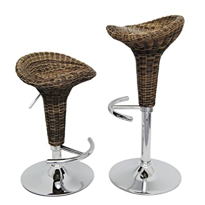 1 x bar stools rattan bar stool Brown club bar Chair swivel chair Wicker with chrome and footrest