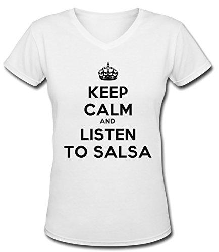 Keep Calm And Listen To Salsa Donna V-Collo T-shirt Bianco Cotone Maniche Corte White Women's V-neck T-shirt