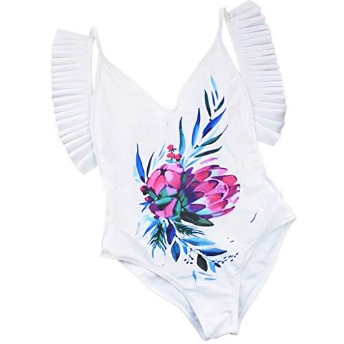 CixNy Damen Badeanzug One Piece Druck Bikini-Sets Bikinioberteil Gefüllter Bademode BH Tankinis Sommer Strandkleidung Multi-Style Swimwear Weiß ()