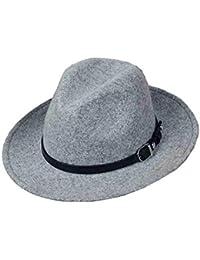 Sunny Para Mujer Sombreros De Fedora con Cinturón Hebilla ala Ancha Moda  Primavera Otoño Invierno Retro 55814ebf82e