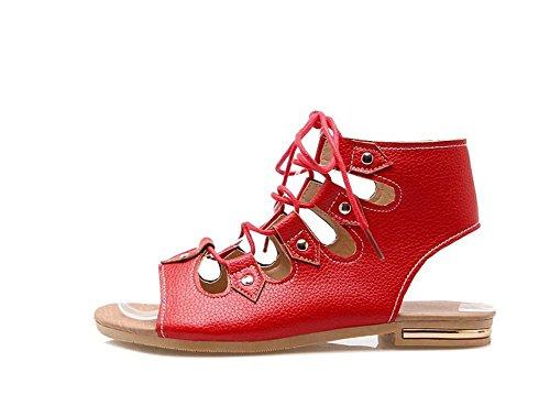 NobS Sandali romani Large Size 40-43 appartamenti open toe scarpe Tie Red