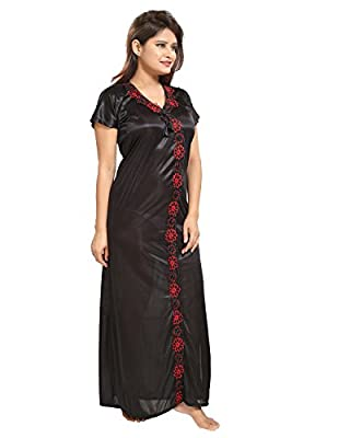 TUCUTE Women Satin Night Gown (Black) (Free Size) D.No.1115