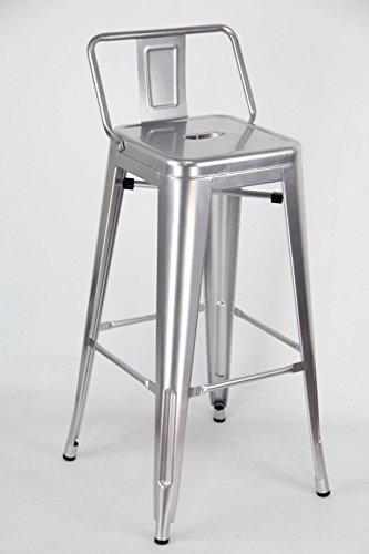 ARREDinITALY Lot 4 tabourets empilables en métal Style Industrial Tolix - réplique en métal Gris métallisé