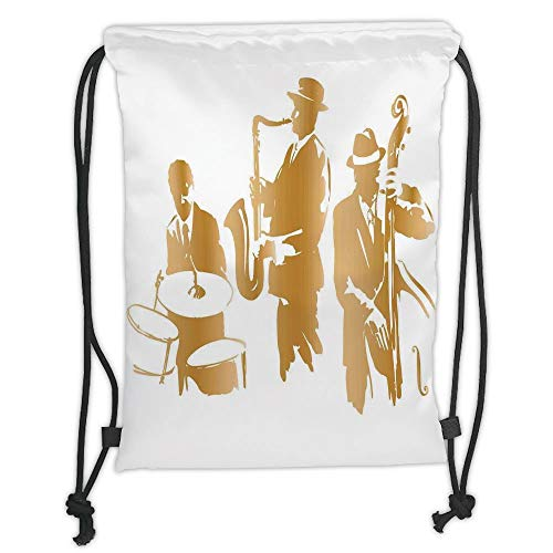 Trsdshorts Drawstring Backpacks Bags,Jazz Music Decor,Vintage Style Illustration of Jazz Band Playing The Blues Music Home Vibes Art,Light Brown White Soft Satin,5 Liter Capacity,Adjustable S