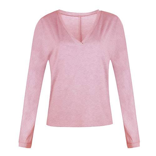 YEZIJIANG Damen T-Shirt Langarm Shirt V-Ausschnitt Bluse Tunika Herbst Tops Casual Oberteile Frauen Basic Langarmshirt Casual mit Knopf T-Shirt V-Ausschnitt Sweatshirt