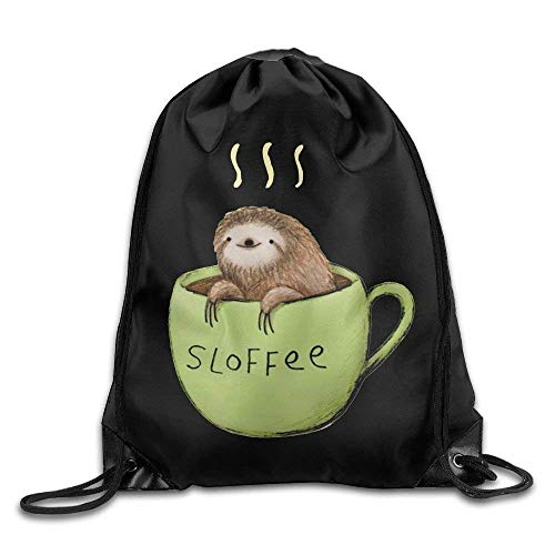 DHNKW Sloth Coffee Drawstring Backpack Rucksack Shoulder Bags Training Gym Sack for Man and Women -